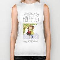 hug Biker Tanks featuring Hug by Rita Correia Illustrator