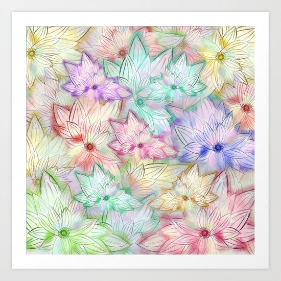 Whimsical Girly Pastel Watercolor Flowers Pattern Art Print
