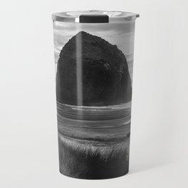 Cannon Beach Sunset - Black and White Nature Photography Travel Mug