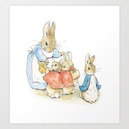Peter Rabbit and Family Art Print