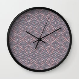 Stylish Rose Gold Diamond Shapes Doodles Gray Pattern Wall Clock