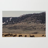 elk Area & Throw Rugs featuring Elk by Al Robinson