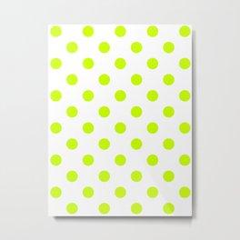 Polka Dots - Fluorescent Yellow on White Metal Print