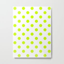 Polka Dots - Fluorescent Yellow on White Metal Print