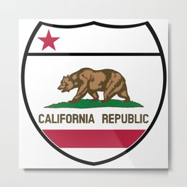 California State Flag In An Interstate Sign Metal Print
