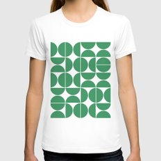 Mid Century Modern Geometric 04 Green White Womens Fitted Tee SMALL