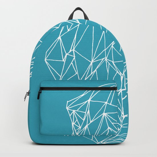 Geometric pattern 01 minimalistic triangles white on teal Backpack