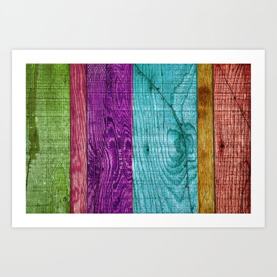 Colorful Wood  Art Print