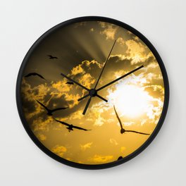 Sunset and clouds with seagulls Wall Clock