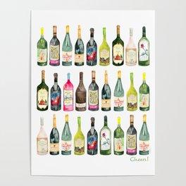 Cheers! Wine Bottles Poster