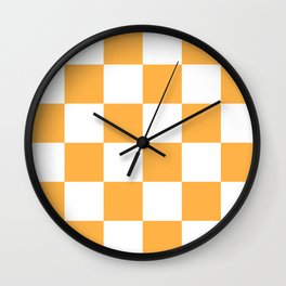 Large Checkered - White and Pastel Orange Wall Clock