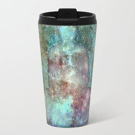 Watercolor Mandala Buddha in Galaxy Travel Mug