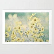 Pastel Wildflowers Yellow Helianthus Daisies -- Botanical Landscape Art Print