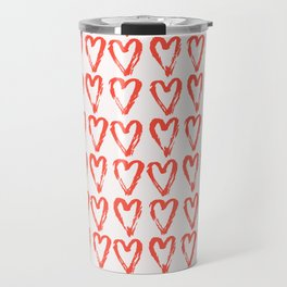 Heart Pattern Living Coral - hand painted Travel Mug