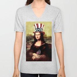 Patriotic Mona Lisa Unisex V-Neck
