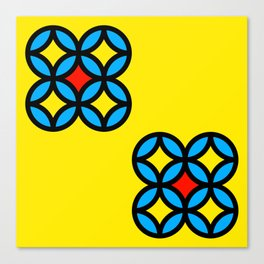 Colored Circles on Yellow Board Canvas Print