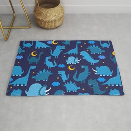Dinosaurs At Night Blue Dinosaur Kids Pattern Rug