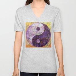 Purple Yin Yang Unisex V-Neck