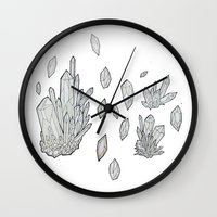 crystals Wall Clocks featuring Crystals by Sushibird