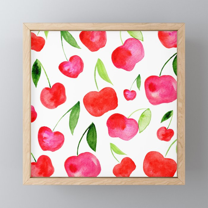 Watercolor cherries - red and green Framed Mini Art Print