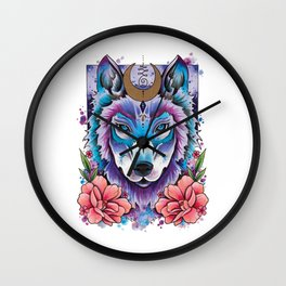 Neo Traditional Moonlight Wolf Wall Clock