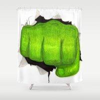 hulk Shower Curtains featuring hulk by Nathanee.