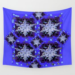 BLUE WINTER HOLIDAY SNOWFLAKES PATTERN ART Wall Tapestry