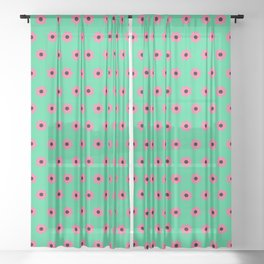 Pink Daisies on Mint Green Sheer Curtain