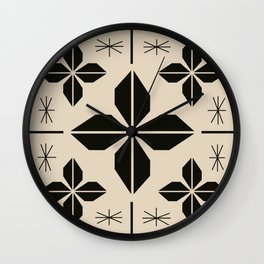 Midcentury Abstract Flowers Wall Clock