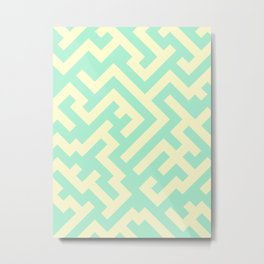 Cream Yellow and Magic Mint Green Diagonal Labyrinth Metal Print