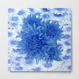 Oriental Style  Blue Chrysanthemums Garden Floral Pattern Metal Print