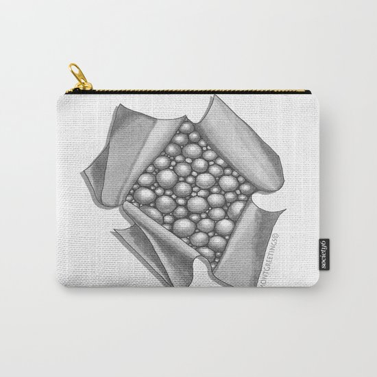 Zentangle 3D Box of Balls Black and White Illustration Carry-All Pouch