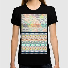 Blue Orange Andes Abstract Aztec Pattern Fashion watercolors T-shirt