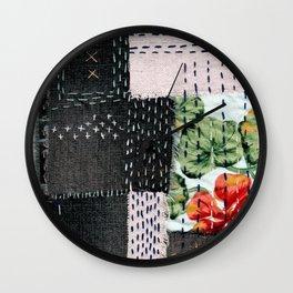Boro Kantha Textile Art 3 Wall Clock