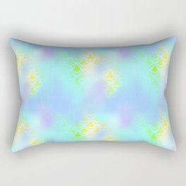 Blue Green and Yellow Mermaid Tail Abstraction. Magic Fish Scale Pattern Rectangular Pillow