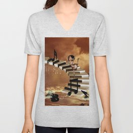 Cute little girl dancing on a piano Unisex V-Neck