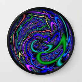 Psychedelic Modern Abstract Art Print Wall Clock