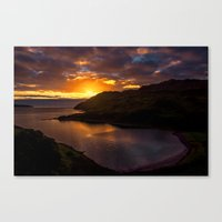 nan lawson Canvas Prints featuring  Camas nan Geall Sunset Ardnamurchan Scotland by Chris Thaxter