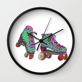 Lime Spotted Roller Skates Wall Clock