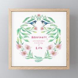 Happiness - Botanic bird water lily - Green, pink - Circle Framed Mini Art Print