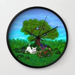 Easter - Spring-awakening - Puppy Capo and Butterfly Wall Clock