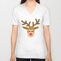 reindeer V-neck T-shirts featuring reindeer by elvia montemayor