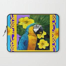 Tropical Blue & Gold Macaw Parrot Purple Art Laptop Sleeve