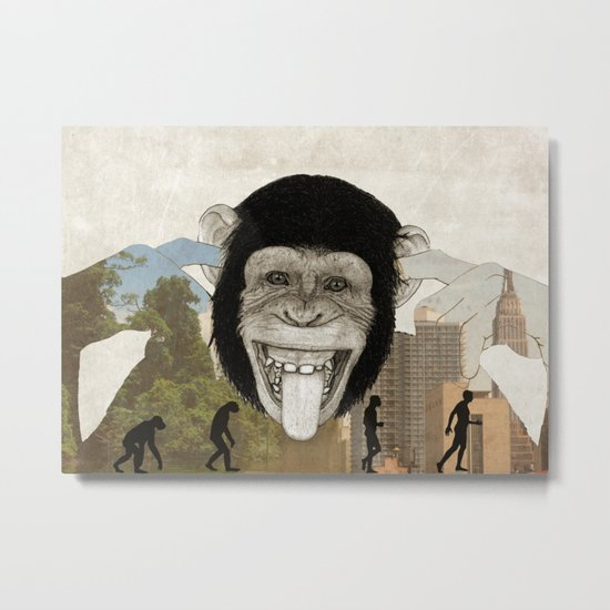Chimpanzees don't care about evolution history. Metal Print