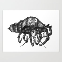 Steampunk angry crab Art Print
