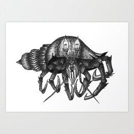 Steampunk angry crab Art Print