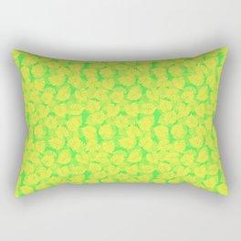 Big Monstera Tropical Leaf Hawaii Rain Forest Lemon Yellow and Lime Green Rectangular Pillow