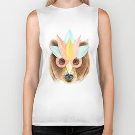 The Bear with the Paper Mask Biker Tank