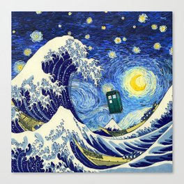 flying tardis in starry night Canvas Print