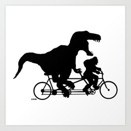 Gone Squatchin cycling with T-rex Art Print